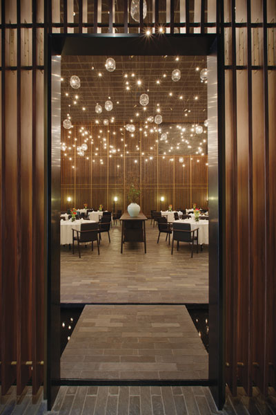 In The Grand Double Height Main Dining Room Vertical Louvres Allow Privacy
