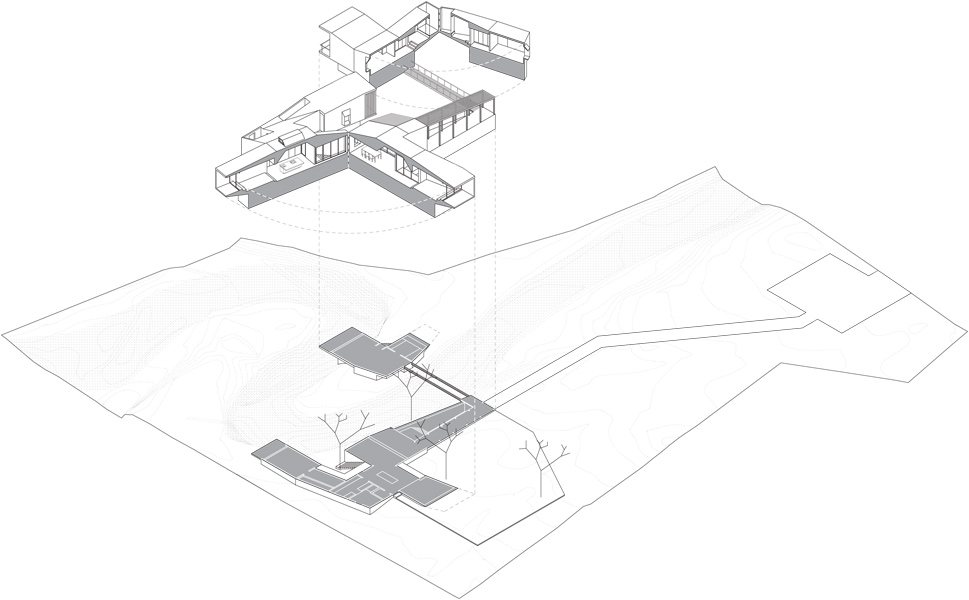 Exploded axonometric – stream meanders through the house
