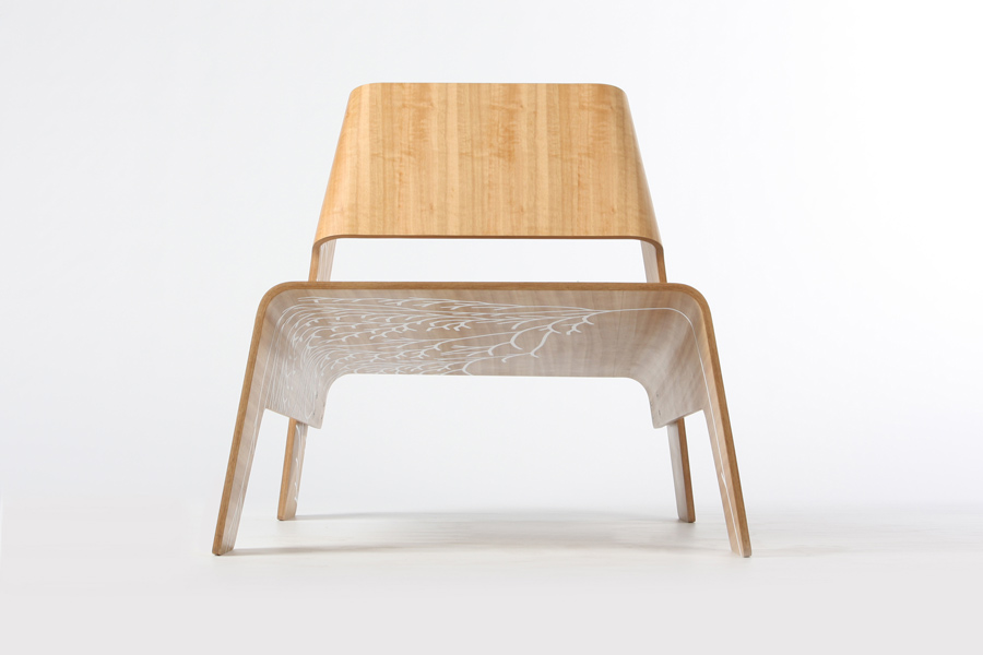 Oru (2010), a low chair made from sustainably managed Tasmanian oak veneer, with a graphic motif by Mitchell Whitelaw