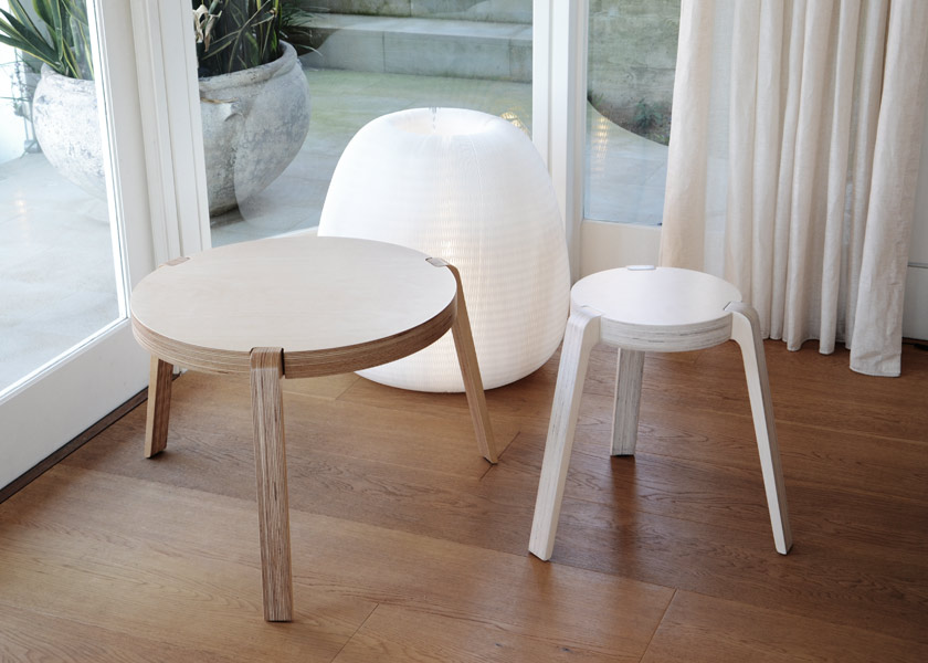 The Triple table and stool (2011), made from ply, are designed with interchangeable legs