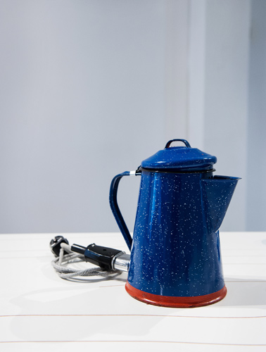 Enamel coffee pot by Henry Wilson. The object has been turned into an electric kettle. Photo by Creative Image Photography
