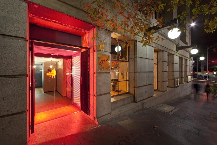 Neon lights ensure the bathrooms are in keeping with the venue's insalubrious namesake