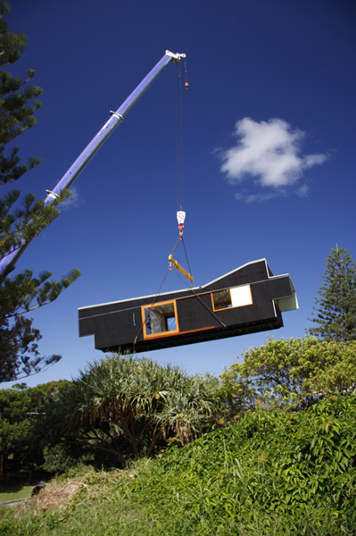 The Happy Haus craned in as an entirety onto site
