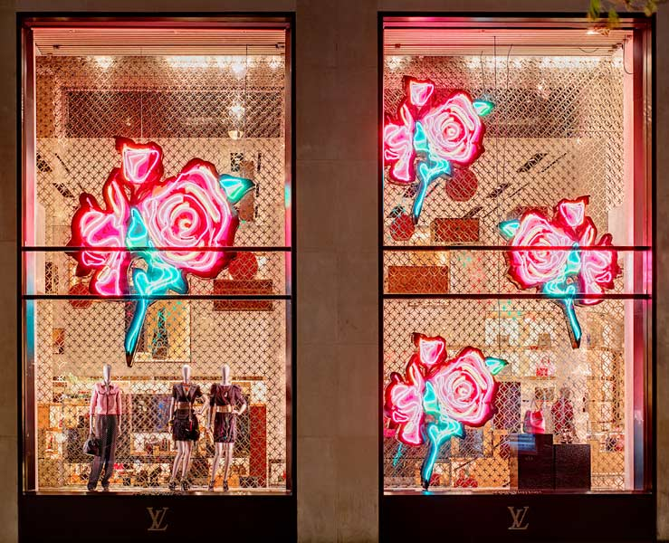 Eighties-inspired neon glamour lit up the Louis Vuitton Paris store, coinciding with the Stephen Sprouse Tribute collection (2009)