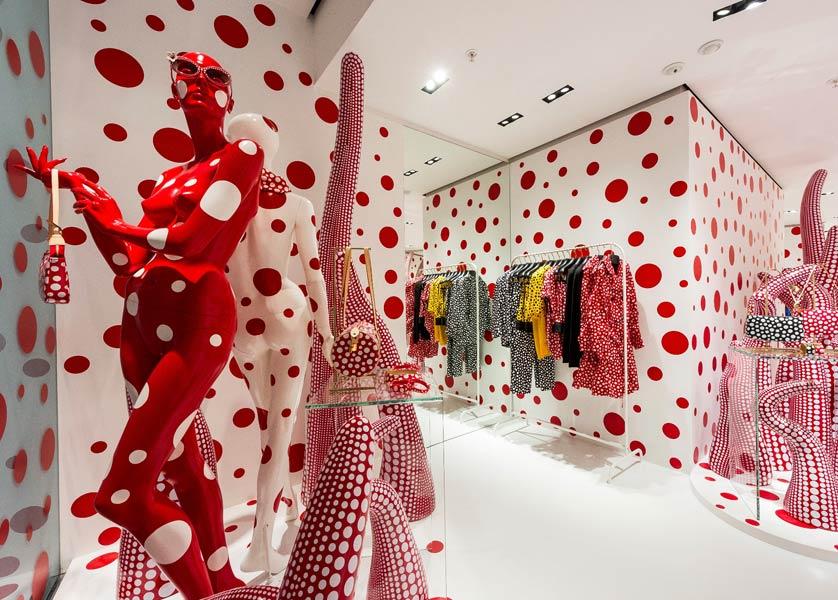 The 2012 collaboration with Yayoi Kusama saw the walls, windows and displays of Louis Vuitton stores in Hong Kong (below) and Paris transformed by the artist's signature polka dot motif