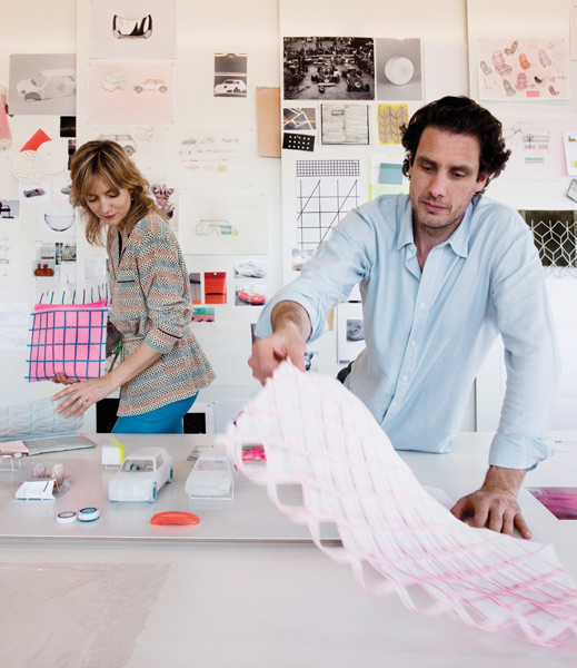 Carole Baijings and Stefan Scholten at work on Colour One for Mini, a concept presented at the 2012 Dutch Design Week. Photo by Inga Powilleit