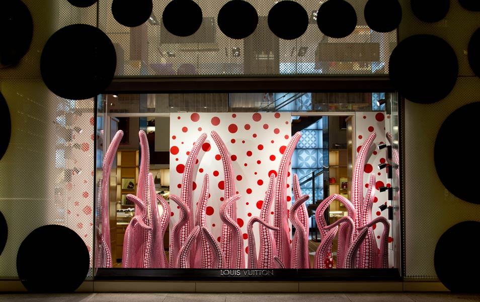 At the Louis Vuitton store on Fifth Avenue, New York, Kusama's polka dot realm engulfed the building's facade