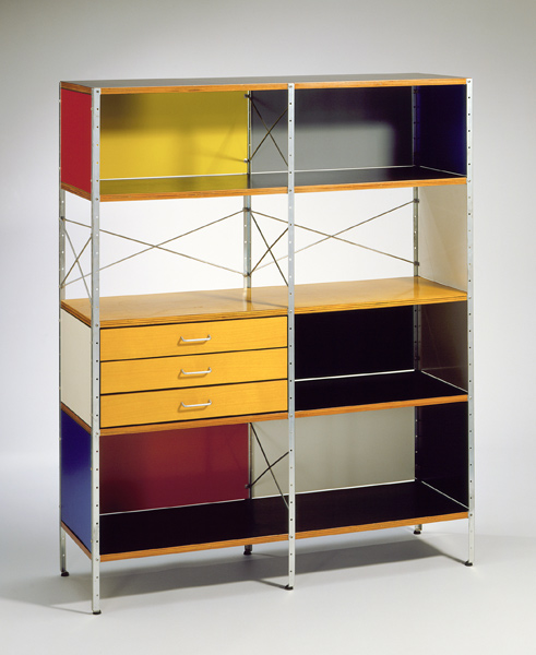 Charles Eames 1907–78 Ray Eames 1912–88 Herman Miller Furniture Company ESU (Eames storage unit) c. 1949 Zinc-plated steel, birch-faced and plastic-coated plywood, lacquered particle board, rubber LACMA, Gift of Mr. Sid Avery and Mr. James Corcoran © 2011 Eames Office LLC (eamesoffice.com); © Herman Miller, Inc. Photo © 2011 Museum Associates/LACMA.