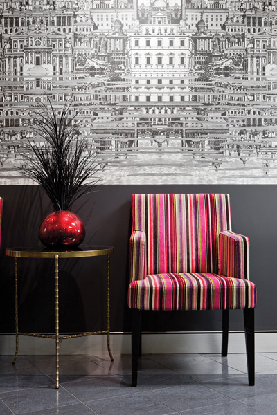 Fornasetti wallpaper used in Coop Creative's fitout for a legal firm in Brisbane. Photo by Rix Ryan Photography