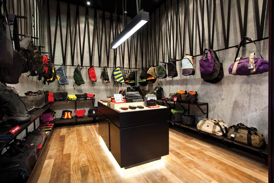 Components from Crumpler bags have been used to build the displays in the Strand store. Photo by Nicole Reed