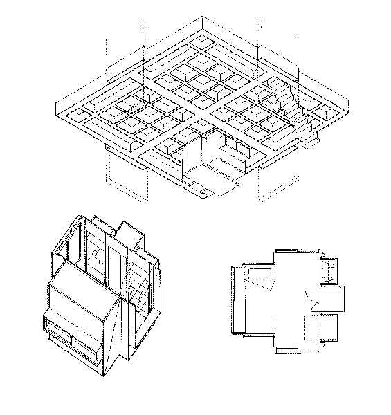 Axonometric drawing showing the slab detail and movenette structures