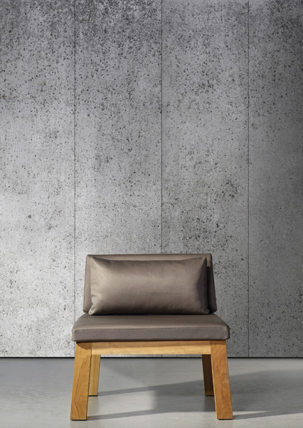 Concrete wallpaper, by Dutch designer Piet Boon, is digitally printed to appear like aged concrete. Available through Safari Living