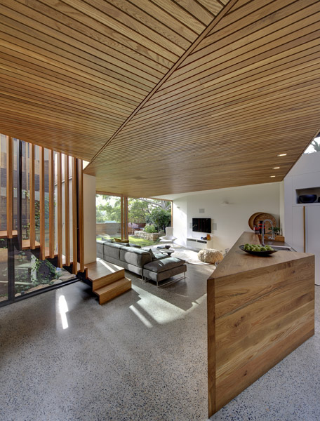 Timber detailing draws the eye outside