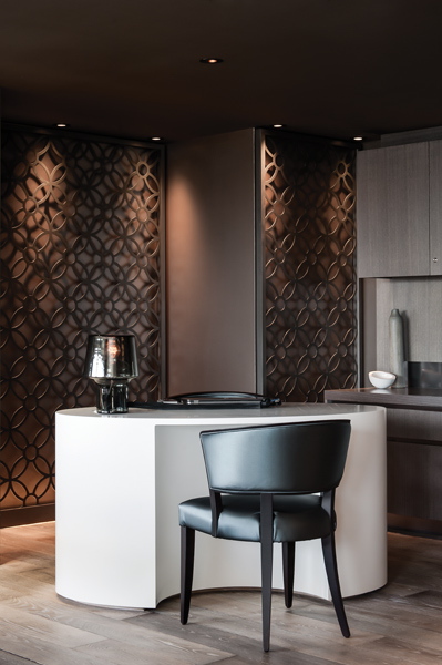 Pattern and texture have been layered throughout the fitout