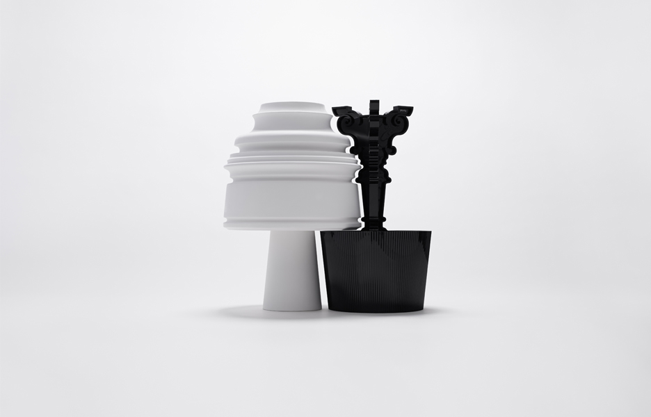 The new Eigruob lamp (white) and the iconic Bourgie lamp (black)
