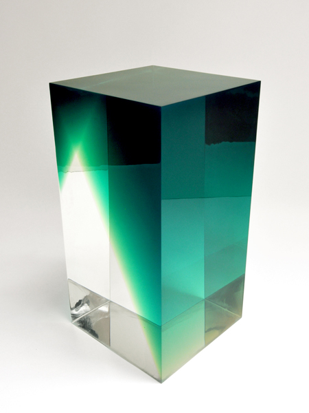 Andy Martin's Block A side table is laminated with polyester resin; available through Crafts Council