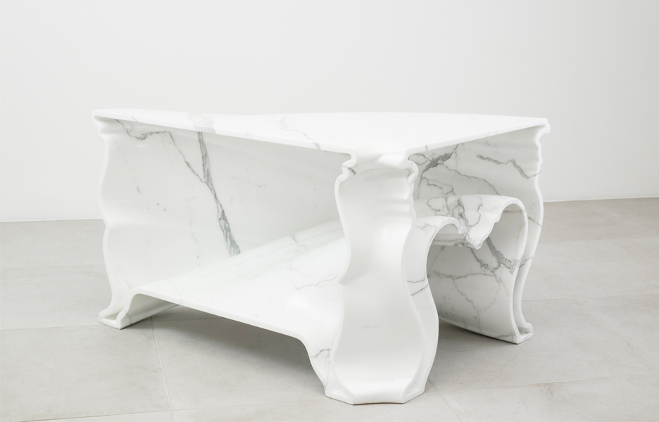 Demakersvan's Cinderella table is made using white carrara marble