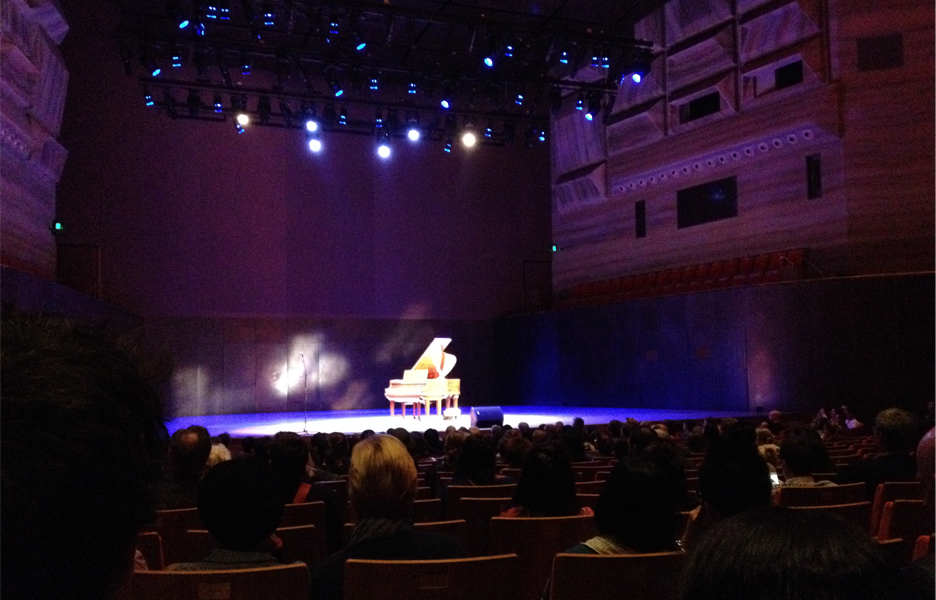 A lone piano on the stage of Hamer Hall plays Rachmaninoff 'live'