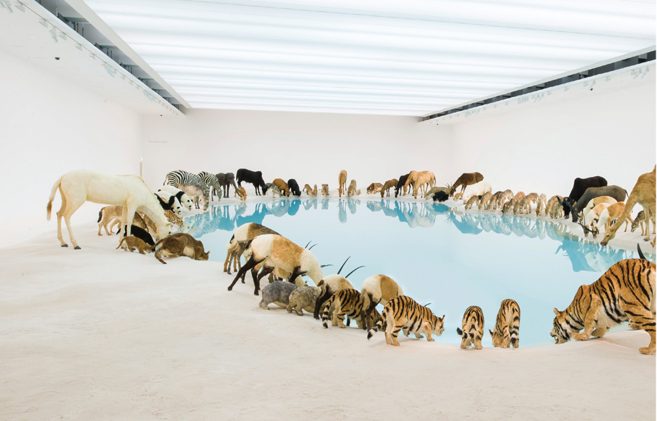 Above: Cai Guo-Qiang. China b. 1957. Heritage 2013 99 life-sized replicas of animals, water, sand, drip mechanism. Installed dimensions variable