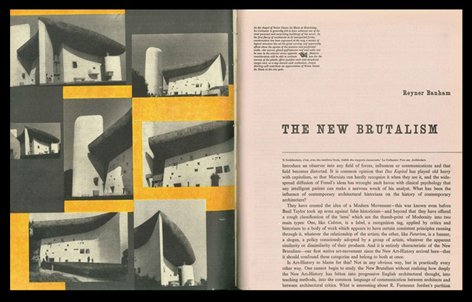 Magazine layout for 'The New Brutalism' by Reyner Banham, an article published in The Architectural Review (UK), December 1955. Image courtesy: The Architectural Review (UK)