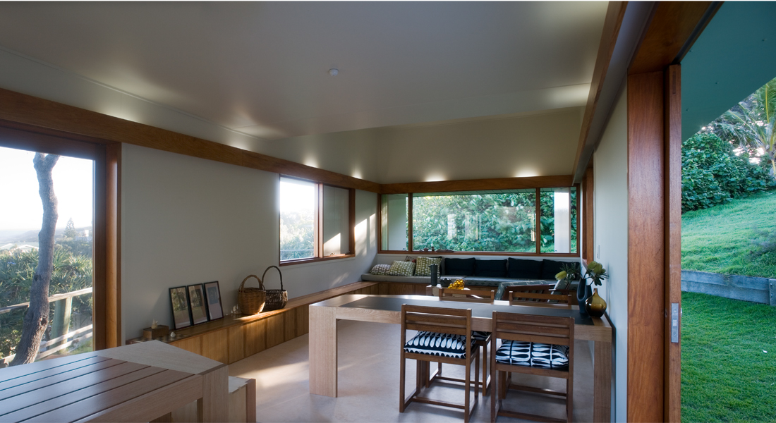 Interior living space of the Happy Haus; Image courtesy of Donovan Hill