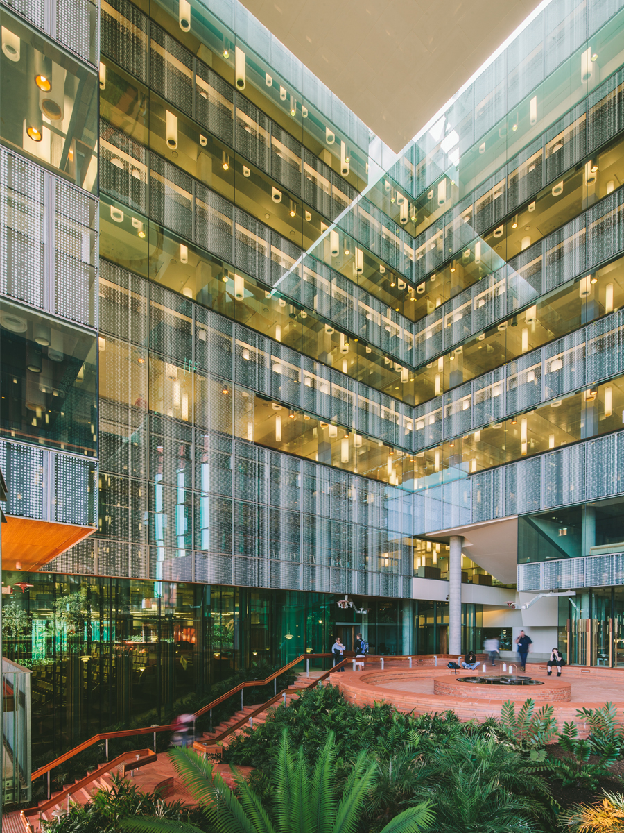 Internal courtyard with brise soleil facade system at the Translational Research Institute (TRI); Image courtesy of Shantanu Starick