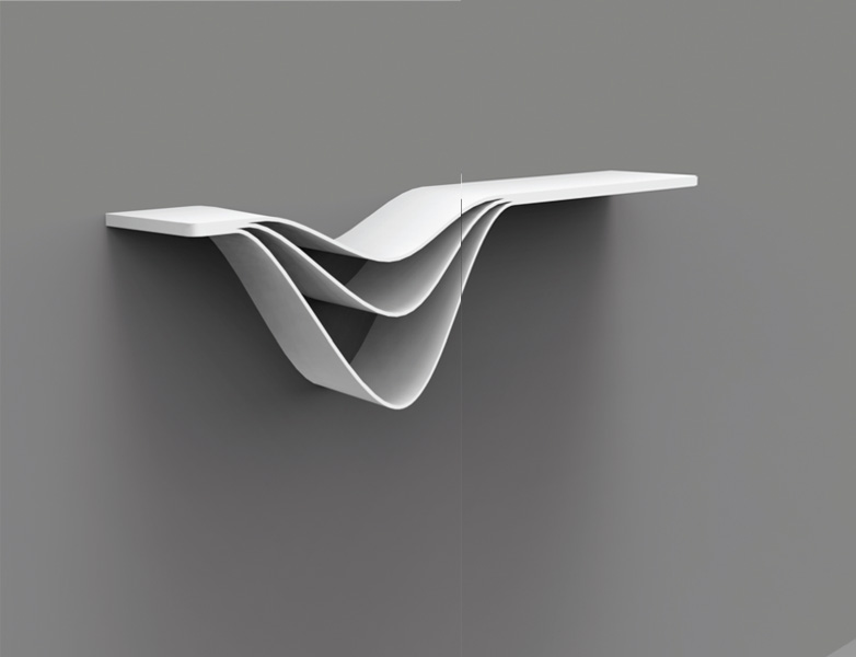 Float shelf designed by Callum Campbell, the Concept category winner in the 2013 Staron Awards. Image courtesy Callum Campbell