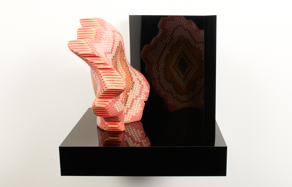 Crossing the mirror 2011. Lionel Bawden. Coloured Staedtler pencils, epoxy & incralac on perspex shelf. 29.8 x 24.7 x 16.5 cm. Image courtesy Karen Woodbury Gallery and the artist.
