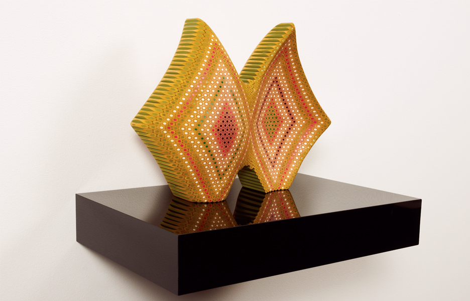 Flipside 2011. Lionel Bawden. Coloured Staedtler pencils, epoxy & incralac on perspex shelf. 28.0 x 33.0 x 13.0 cm. Image courtesy Karen Woodbury Gallery and the artist.