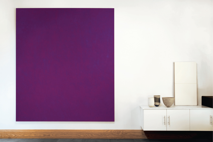 David Serisier, untitled vertical purple painting, 2009, oil on linen, 244 x 214cm. Ceramics by Jennifer Lee. Image courtesy of Liverpool Street Gallery and White Buffalo Publishing.