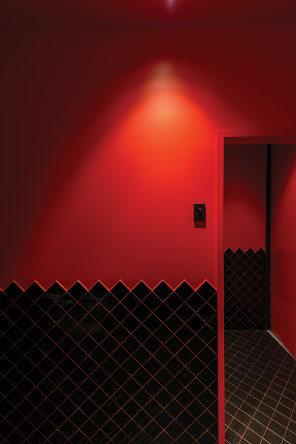 The tile edge on walls to the bathroom entrance echo the ubiquitous diamond pattern.