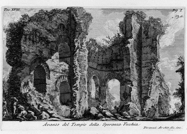 Piranesi's etching of the Temple of Venere and Cupido in Rome. Image Courtesy of Wikimedia Commons
