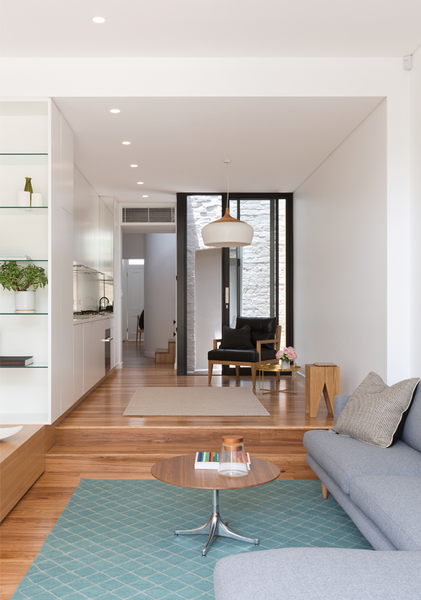 Kate Stokes' large white Coco Pendant (Coco Flip); Blackbutt floorboards and cabinetry