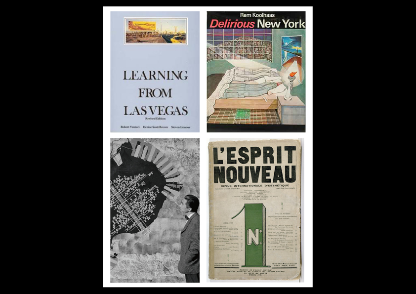 From left to right (clockwise): Learning From Las Vegas; Delirious New York; Metabolism founder, Kenzo Tange and the Tokyo Bay project; and, L'Esprit Nouveau, Volume 1, 1918