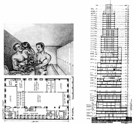 Downtown Athletics Club section and floor plans in Delirious New York, Rem Koolhaas. Images courtesy: OMA