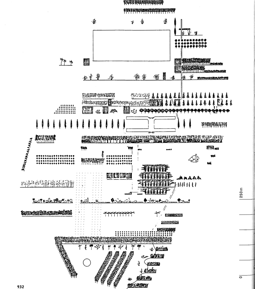 Downtown Athletics Club section overlaid as floor plan for Parc de la Villette, Paris. Diagram courtesy: OMA
