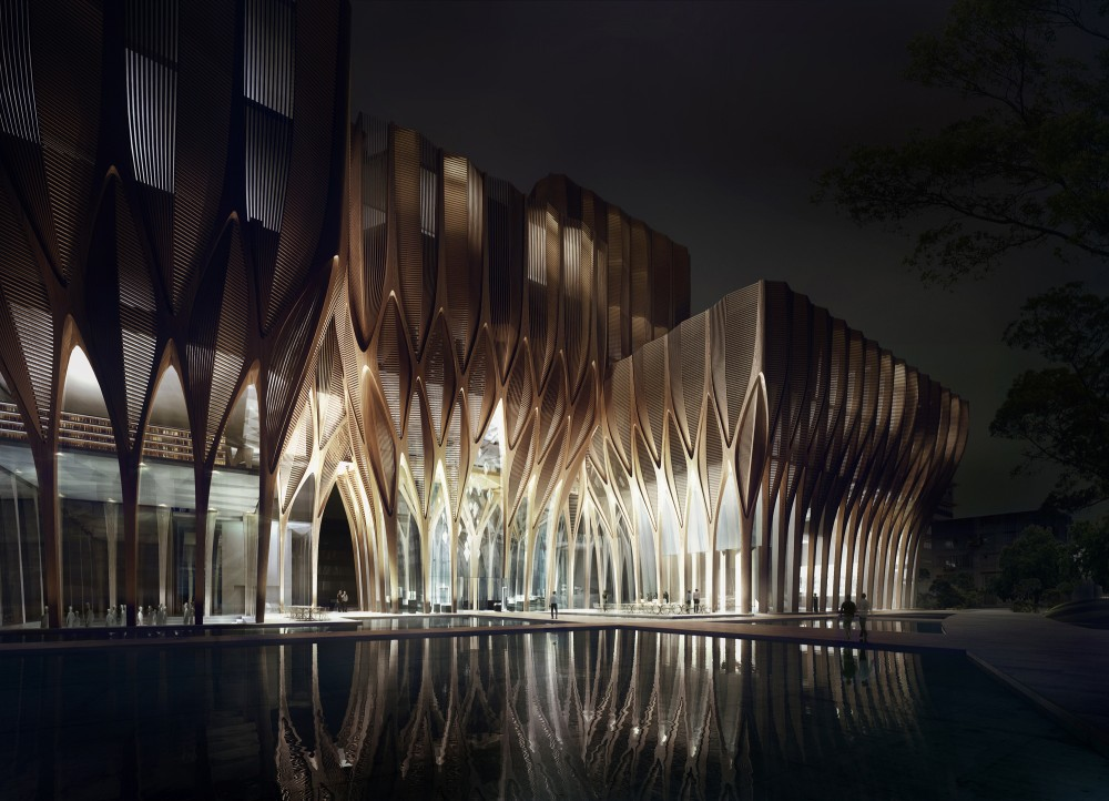 5437ed2cc07a80762d00000c_zaha-hadid-designs-five-wooden-towers-to-house-cambodian-genocide-institute_sleuk_rith_institute_entrance_-night--1000x722