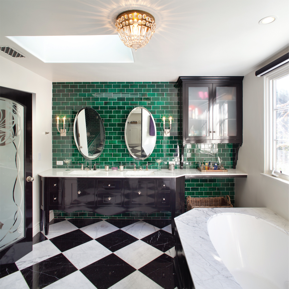 Tiles, antiques and feature lighting transform the bathroom experience