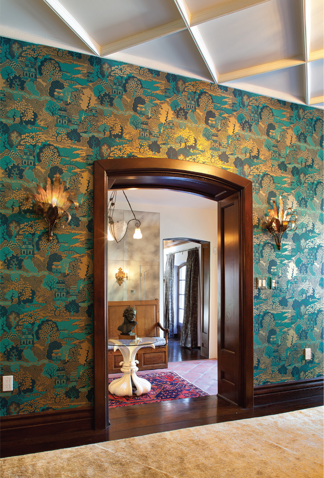 Osborne and Little's Summer Palace wallpaper with Wertz Brothers sourced furniture