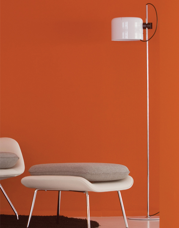 Coupe 3321 floor lamp by Joe Columbo for Oluce. Image courtesy Euroluce.