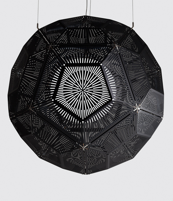 Ball by Tom Dixon in black anodised aluminium. Image courtesy of dedece.