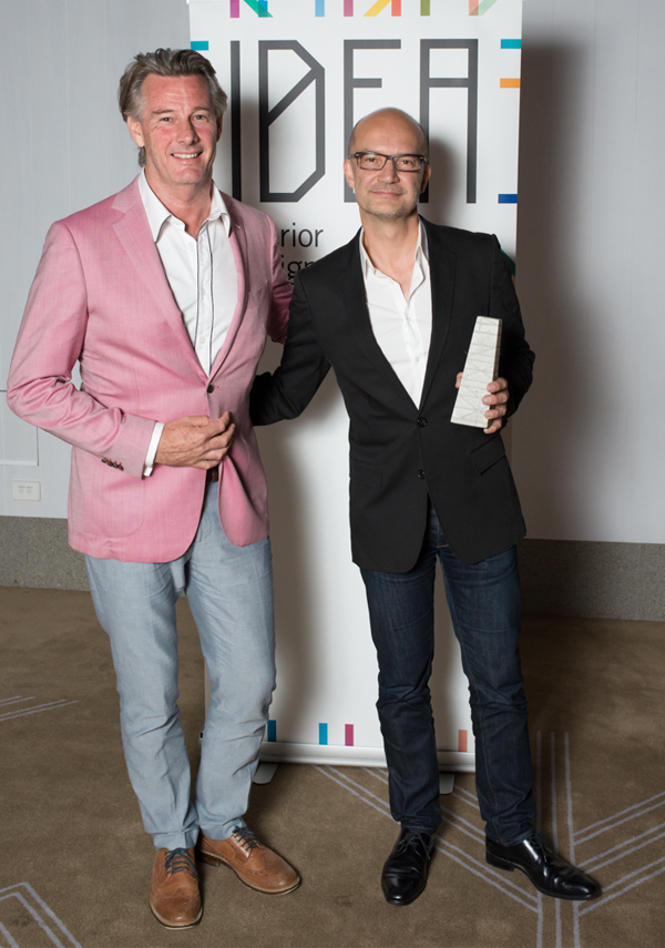 Barry Du Bois from Channel 10's The Living Room with Grant Filiposs from Bates Smart