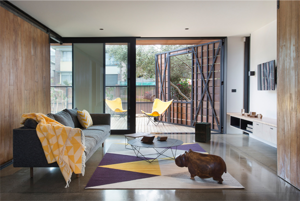 The ground floor living space opens to the elements