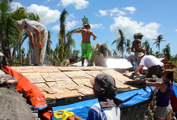 Earthship Philippines being constructed with cardboard