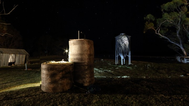 Image: Robbie Rowlands, Silo projection – Wright farm Yuengroon.