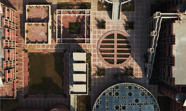 Ariel-shots-of-campus-show-pure-geometry-and-repetitive-form