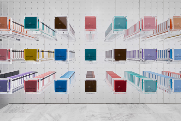 'Cubes within cubes', Nendo play with packaging shapes, creating precise pattern.