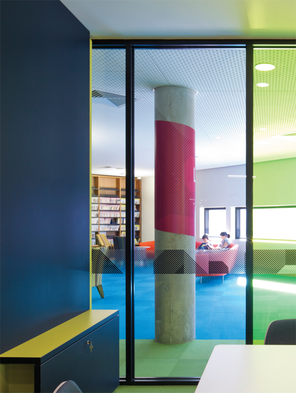 Colours invite and direct the building's user throughout.
