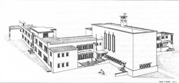 Sketch of Mac.Robertson Girls' High School, from 'Australian Architecture 1901-51: Sources of Modernism' by Johnson Donald Leslie