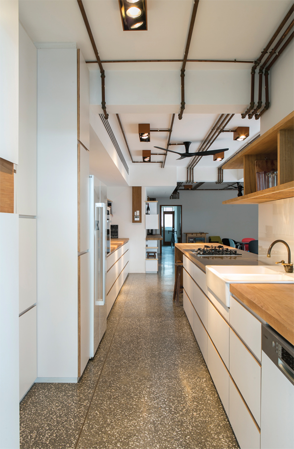The galley kitchen is compact but effective and the brass pipes that run the length of the ceiling throughout the apartment are best seen from this perspective.